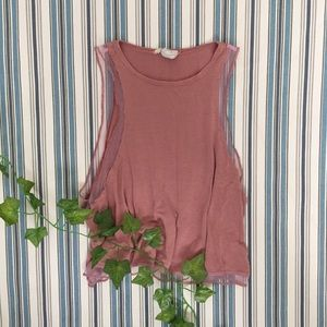Urban Outfitters Pink Mesh Tank Top